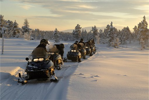 A group of snowmobile's exploring